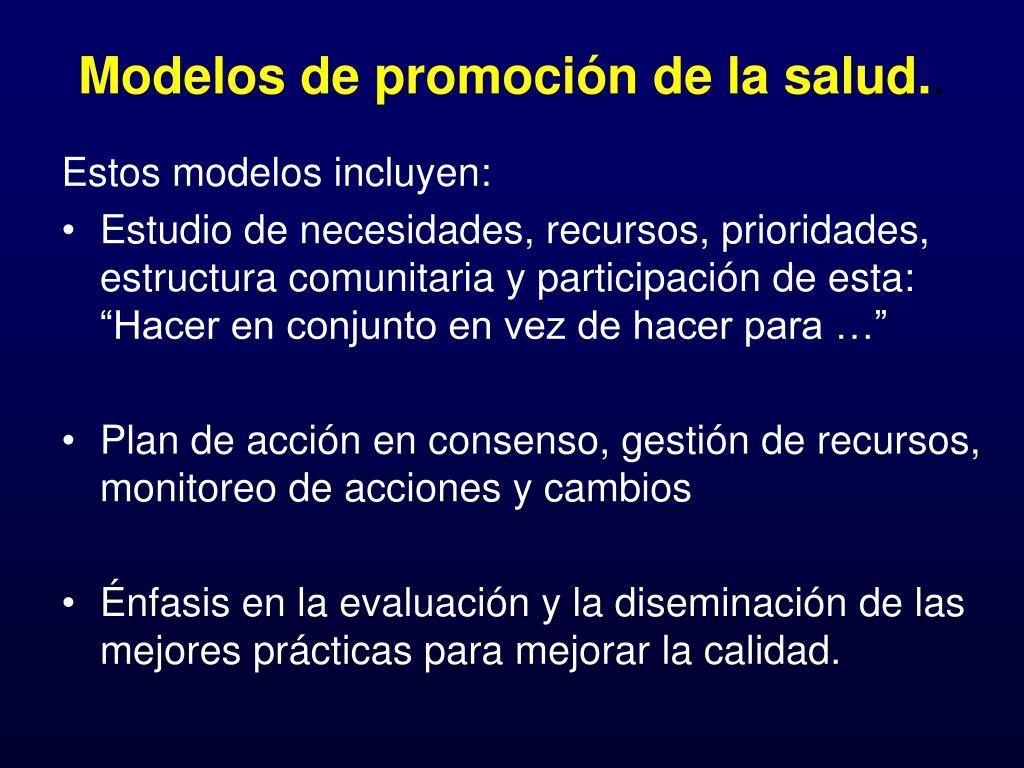 Modelos de promoción de la salud.