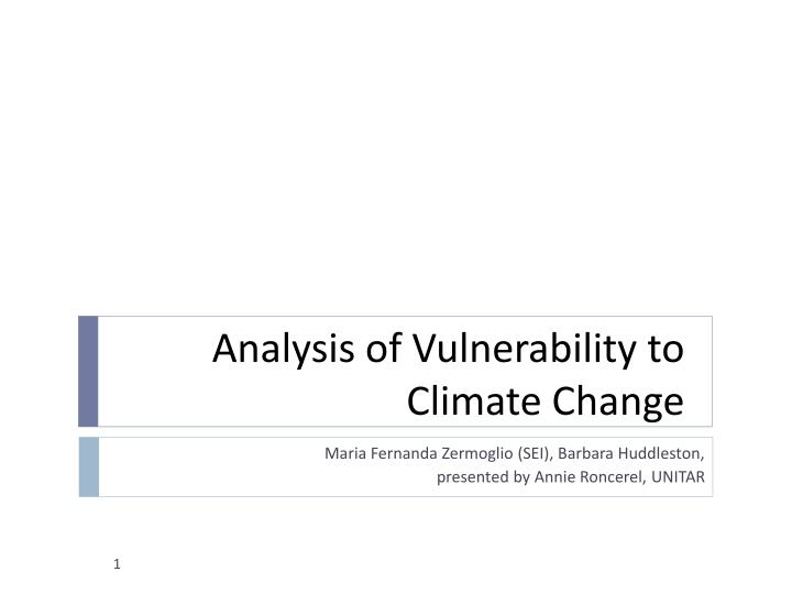 Analysis of vulnerability to climate change
