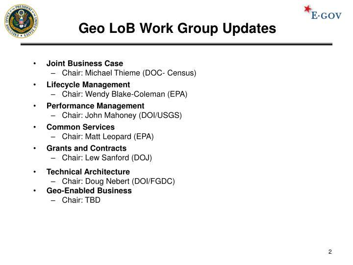 Geo lob work group updates