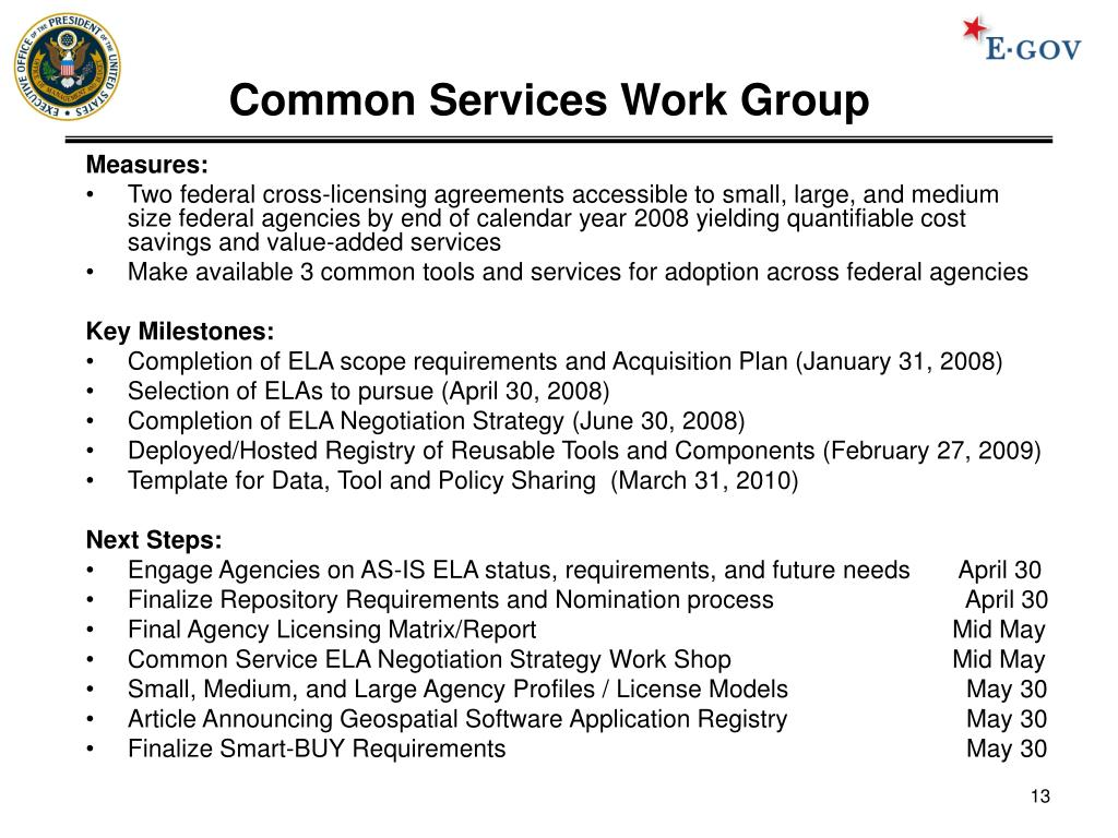 Common Services Work Group