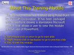 about this training module