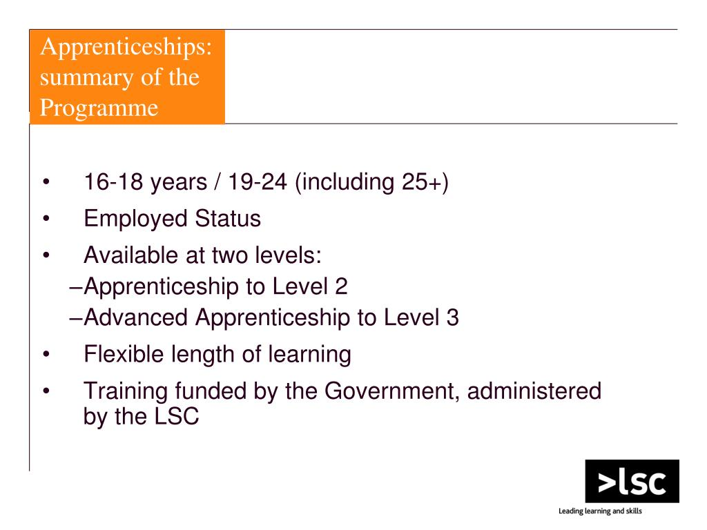 Apprenticeships: summary of the Programme