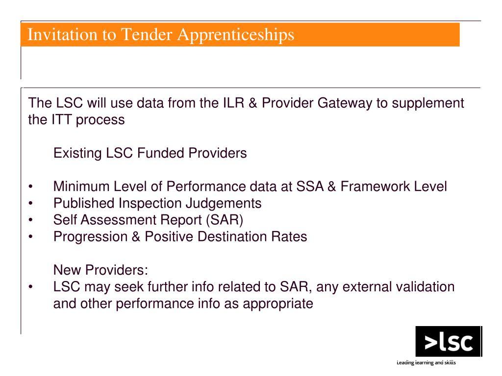 Invitation to Tender Apprenticeships