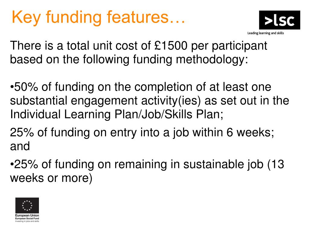 Key funding features…