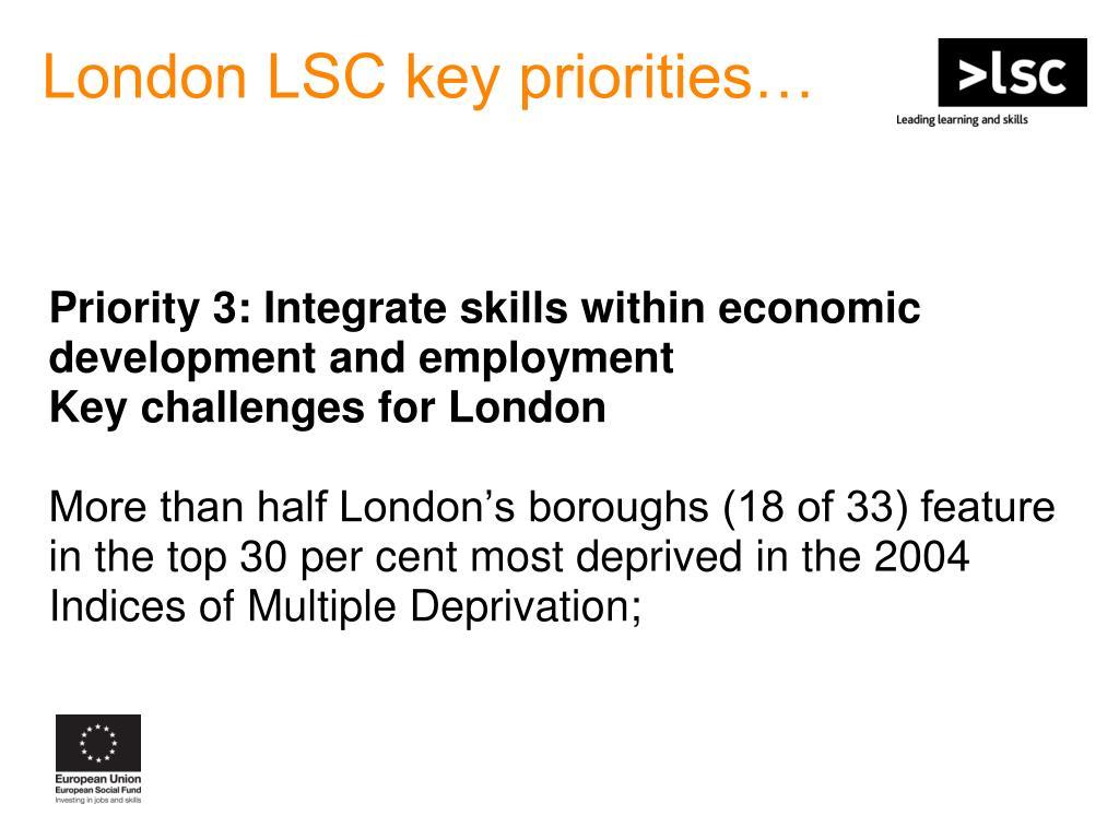 London LSC key priorities…
