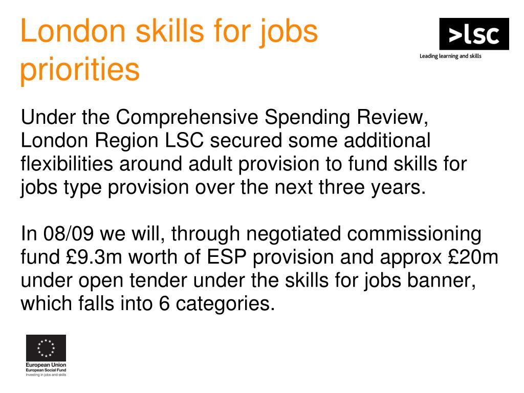 London skills for jobs