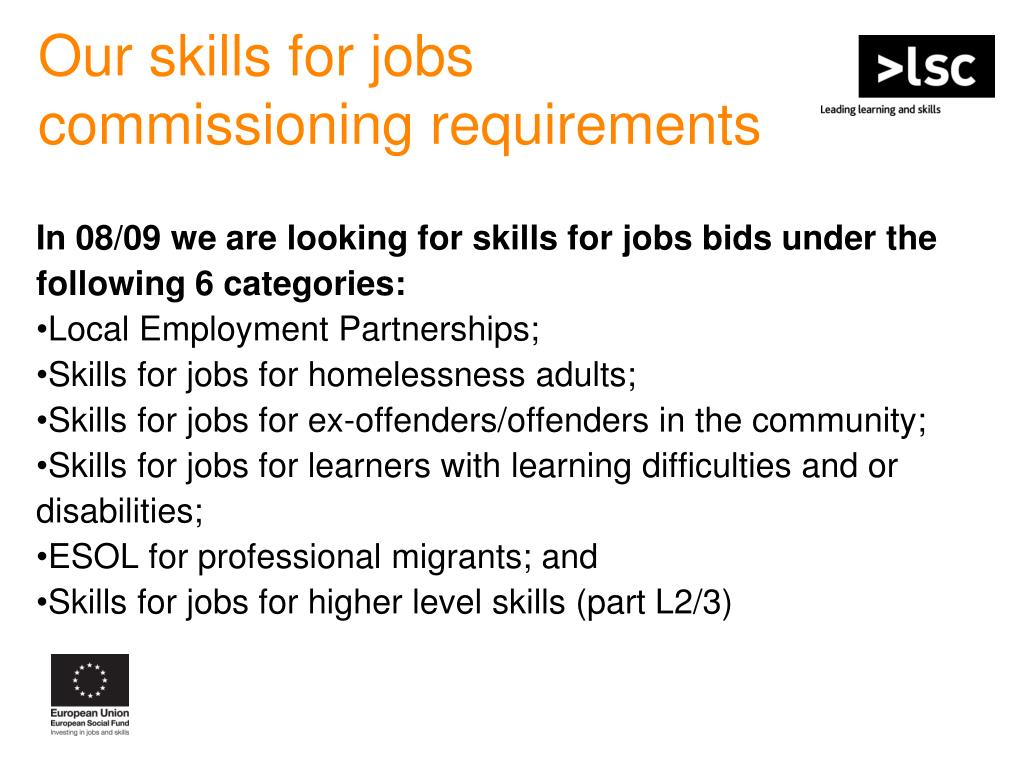 Our skills for jobs