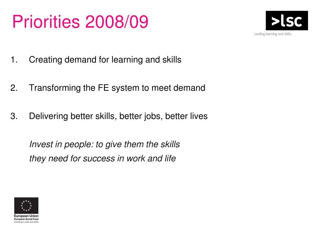 Priorities 2008/09
