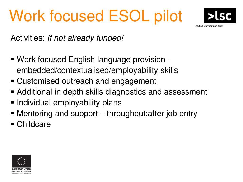 Work focused ESOL pilot
