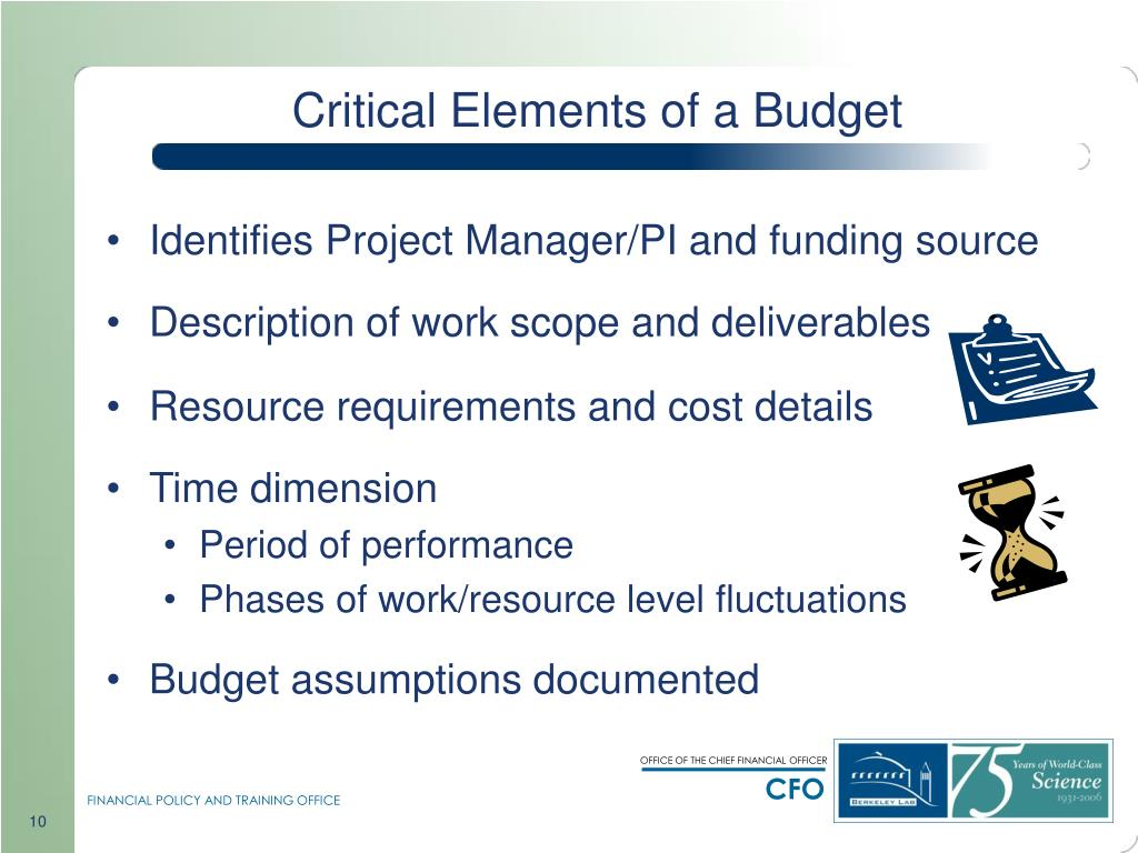 Critical Elements of a Budget