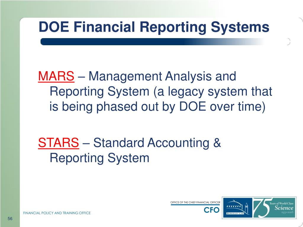 DOE Financial Reporting Systems