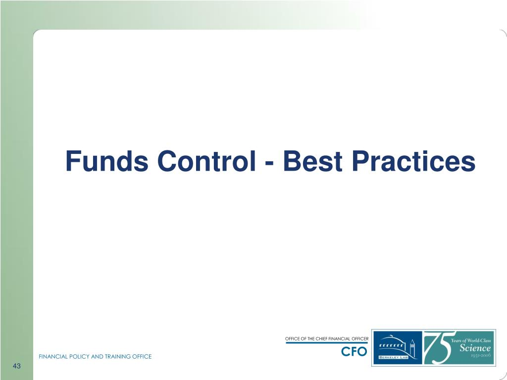 Funds Control - Best Practices