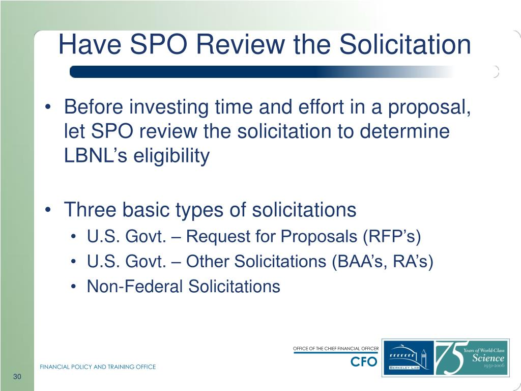 Have SPO Review the Solicitation