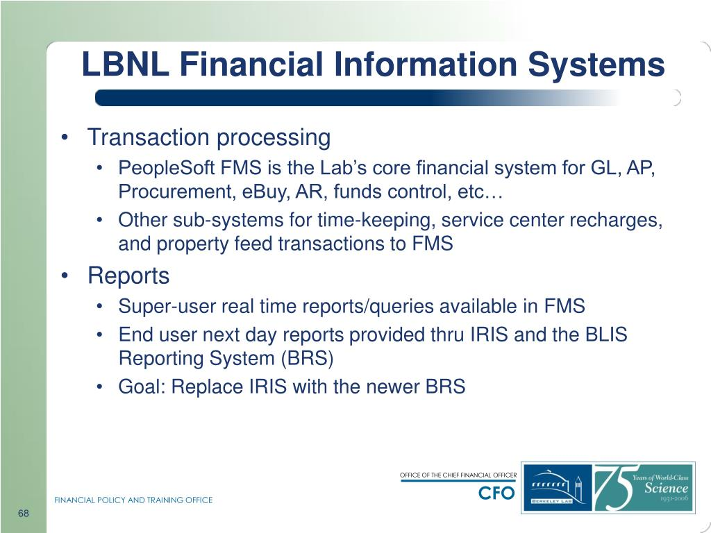 LBNL Financial Information Systems