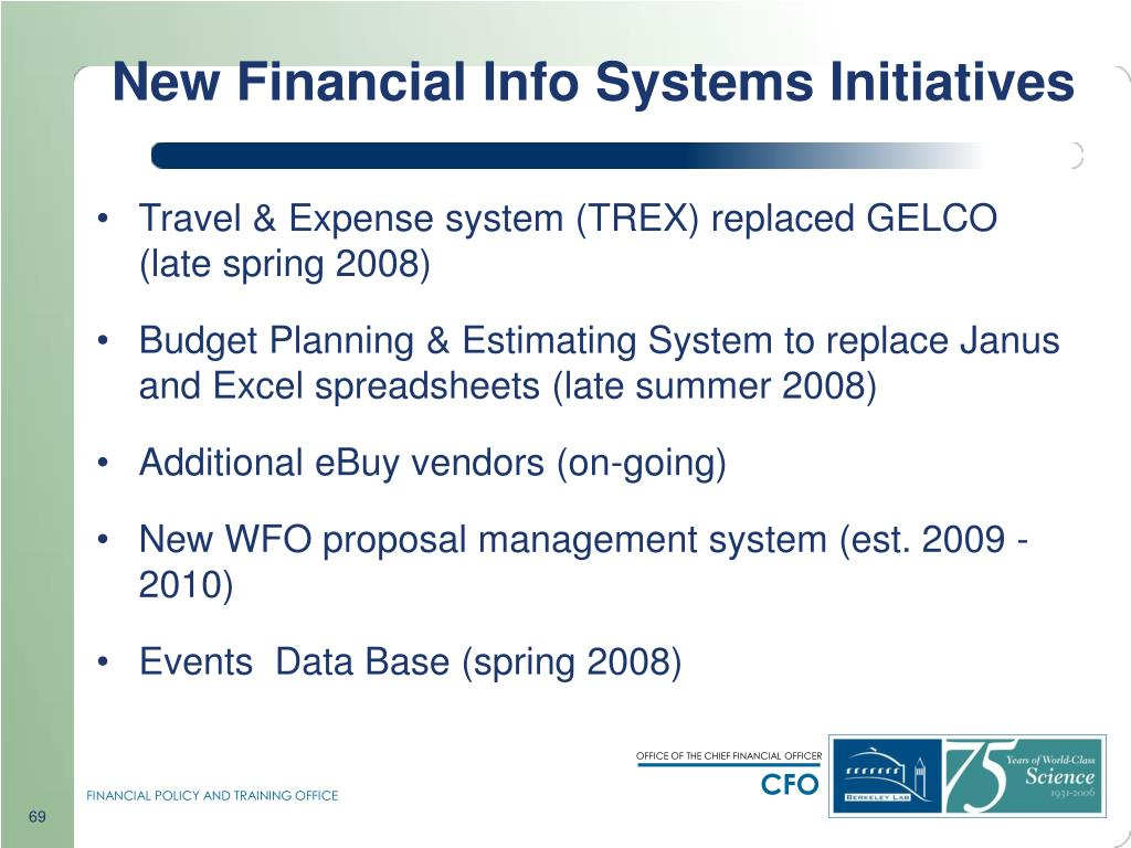 New Financial Info Systems Initiatives
