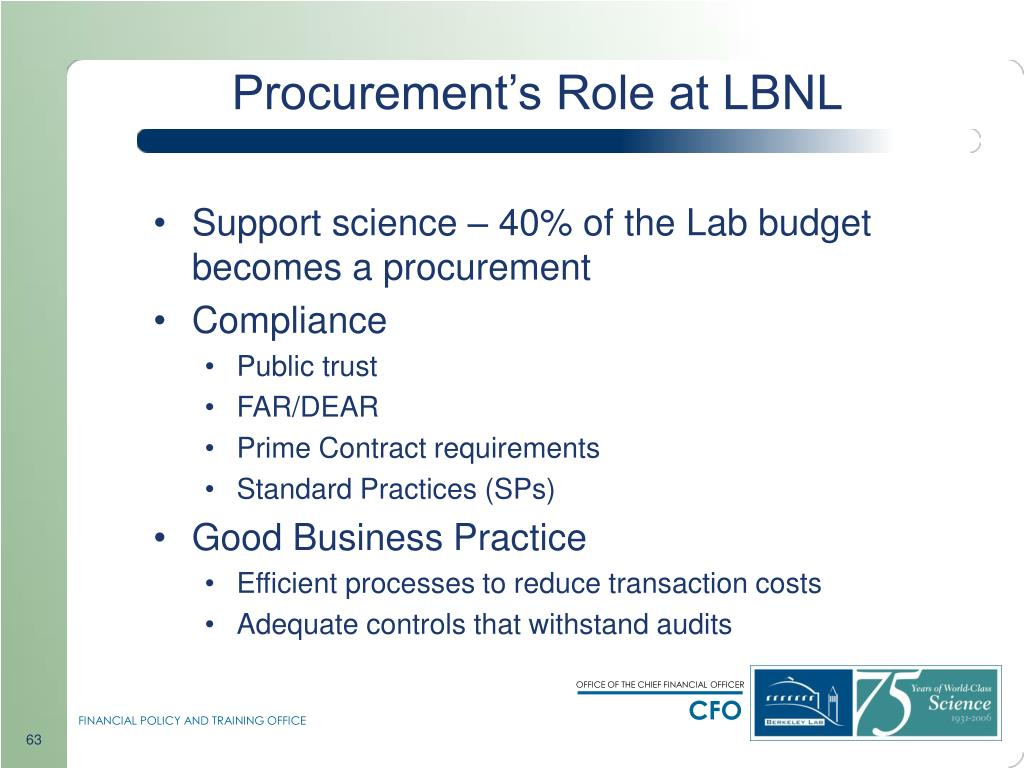 Procurement's Role at LBNL