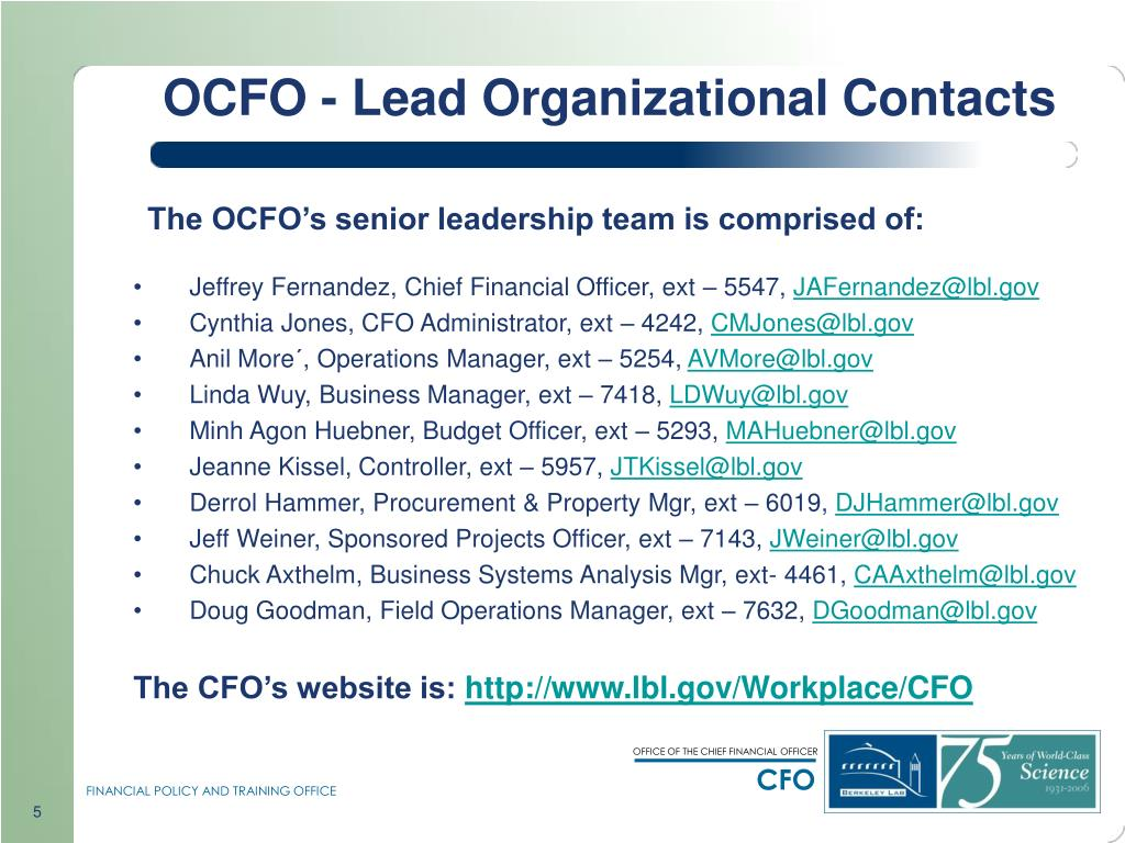 OCFO - Lead Organizational Contacts