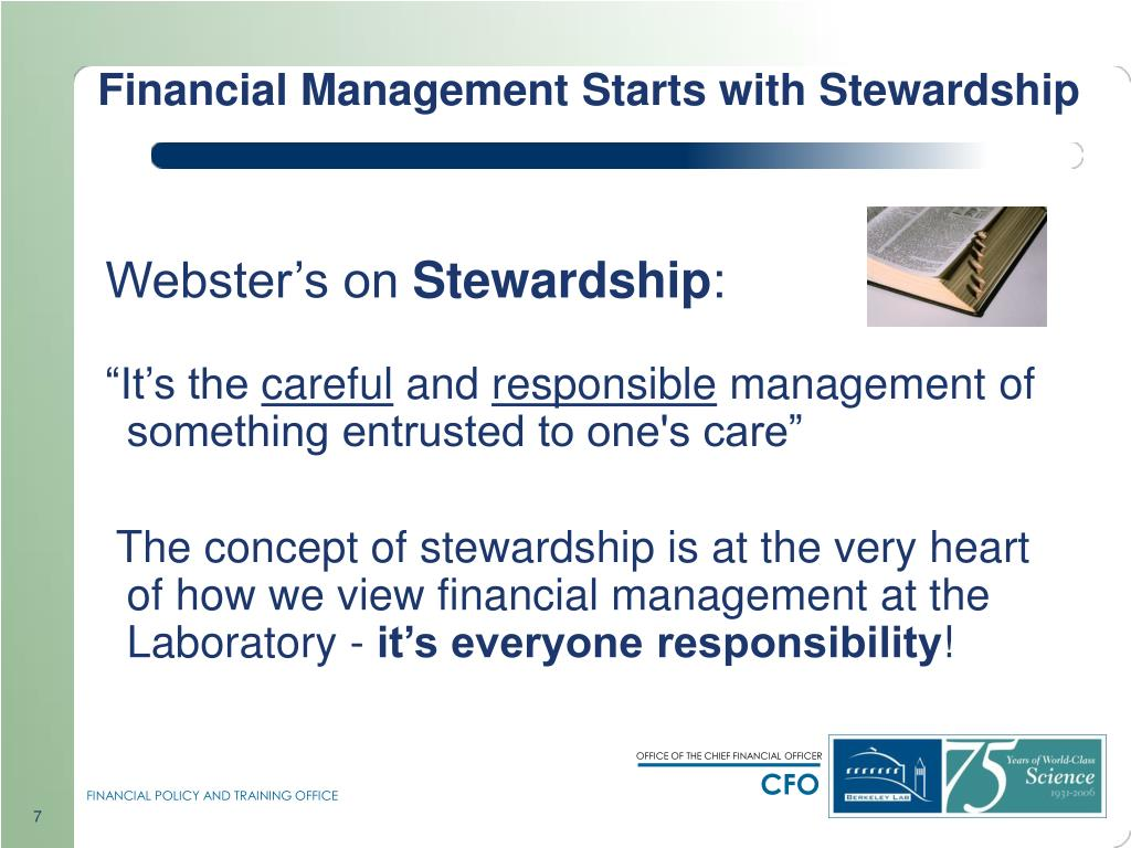 Financial Management Starts with Stewardship