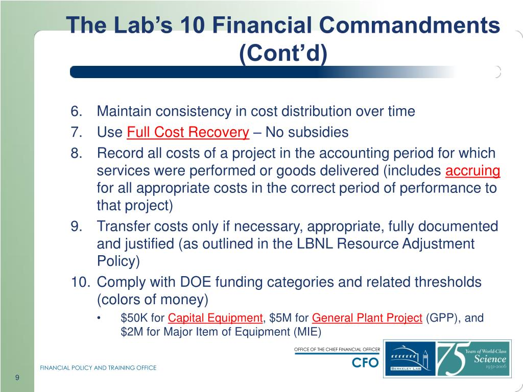 The Lab's 10 Financial Commandments (Cont'd)