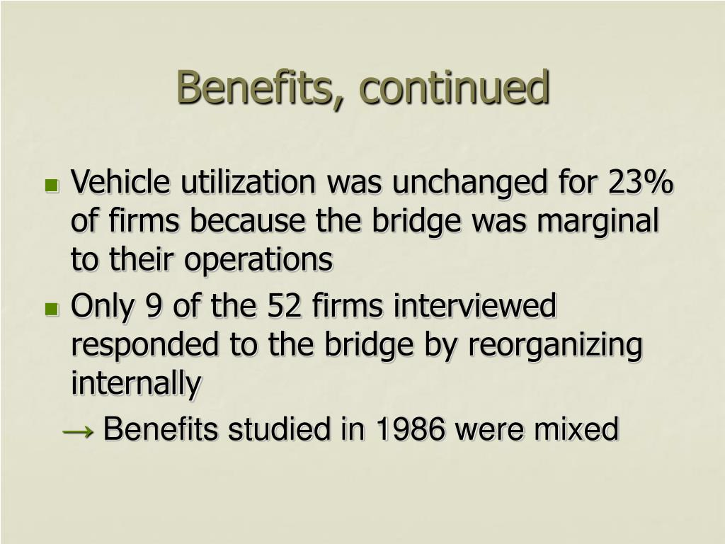 Benefits, continued
