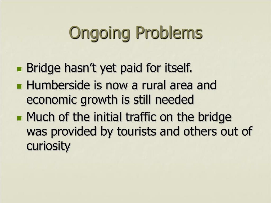 Ongoing Problems