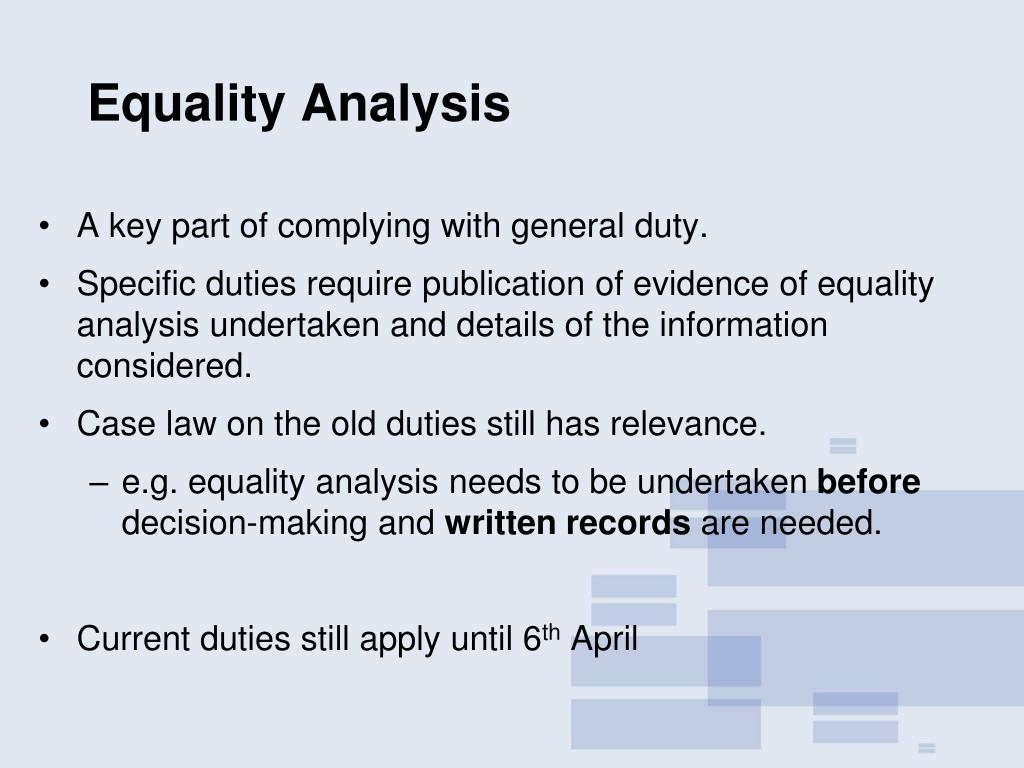 Equality Analysis