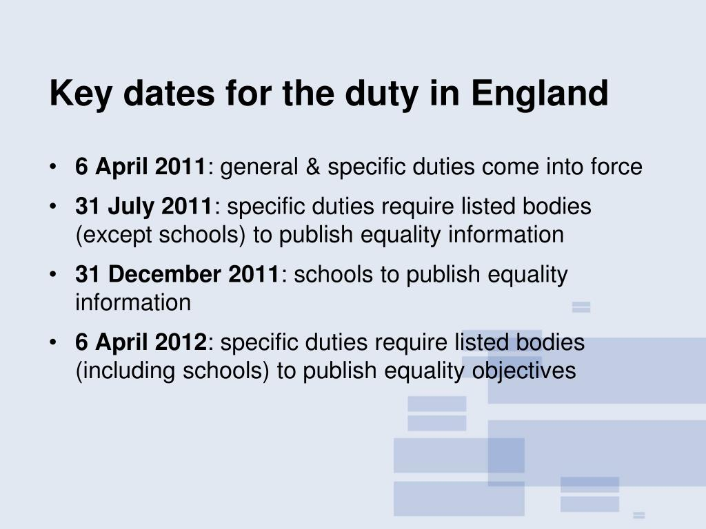 Key dates for the duty in England