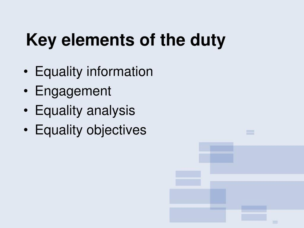 Key elements of the duty