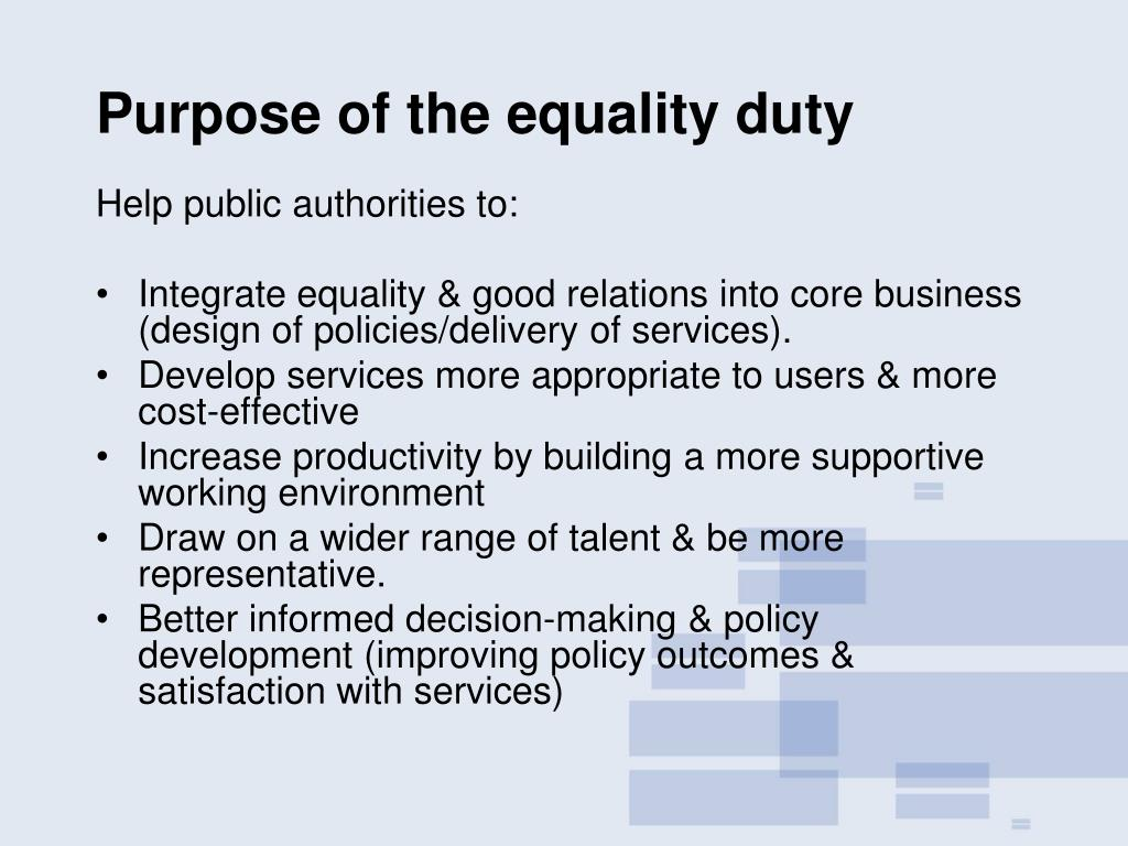 Purpose of the equality duty