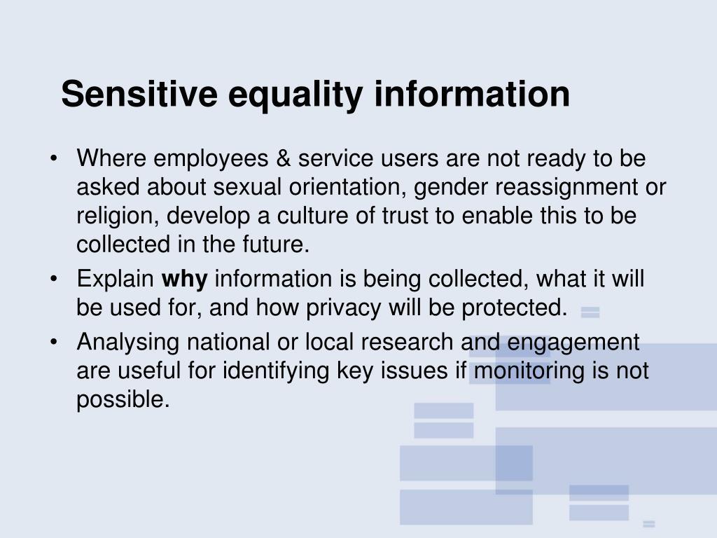 Sensitive equality information