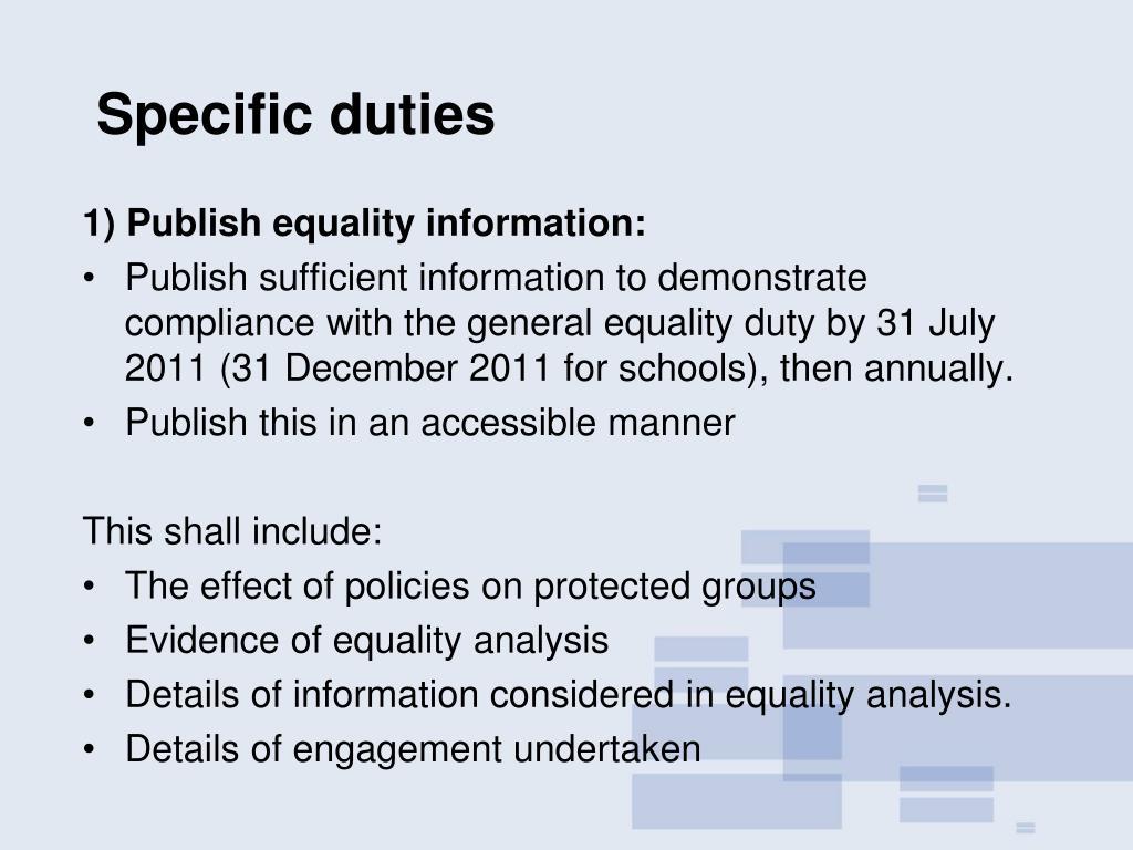 Specific duties