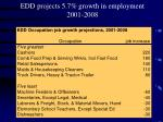 edd projects 5 7 growth in employment 2001 2008