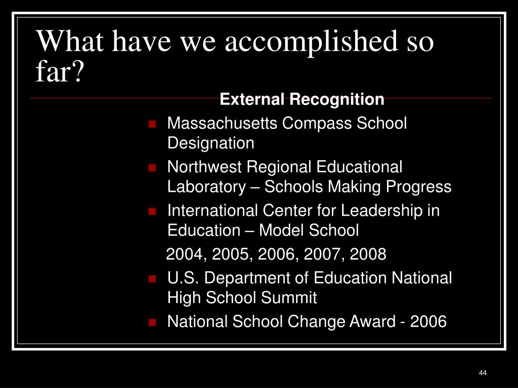 What have we accomplished so far?