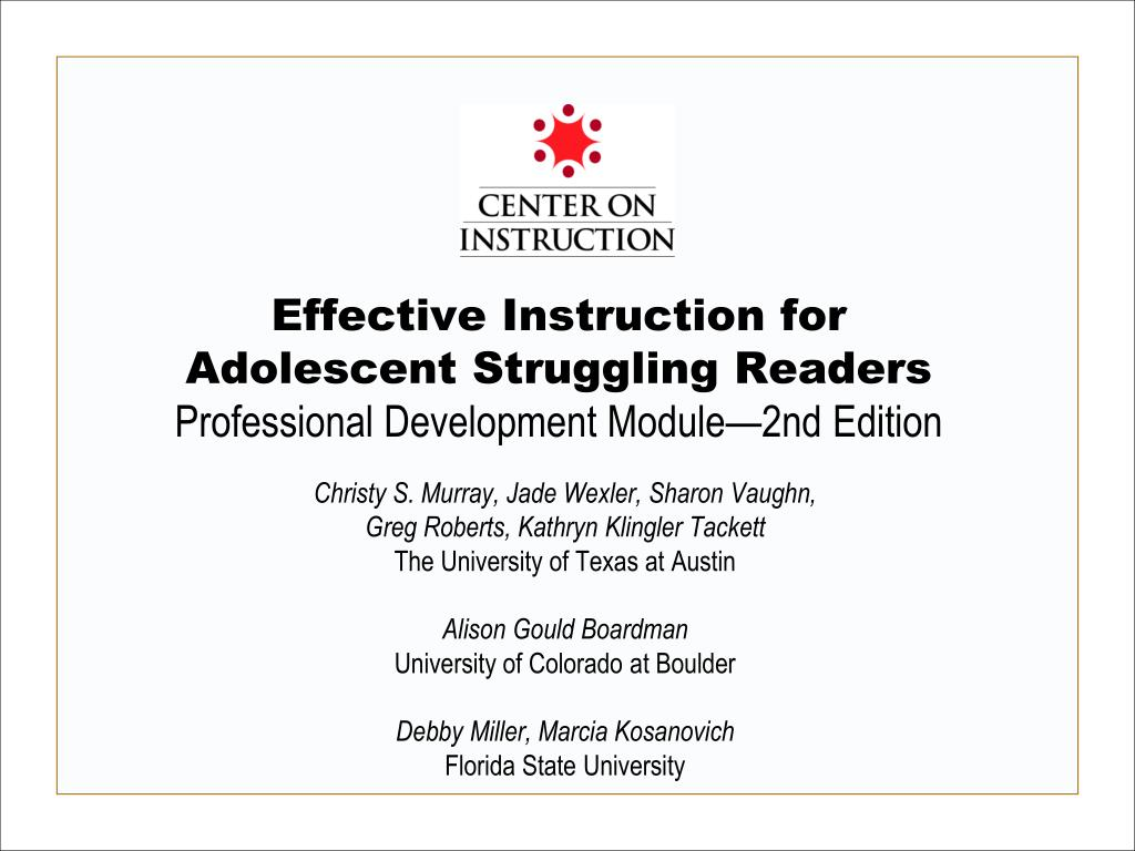 effective instruction for adolescent struggling readers professional development module 2nd edition l.