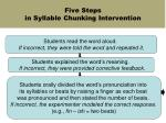 five steps in syllable chunking intervention