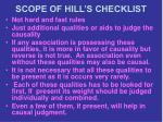 scope of hill s checklist