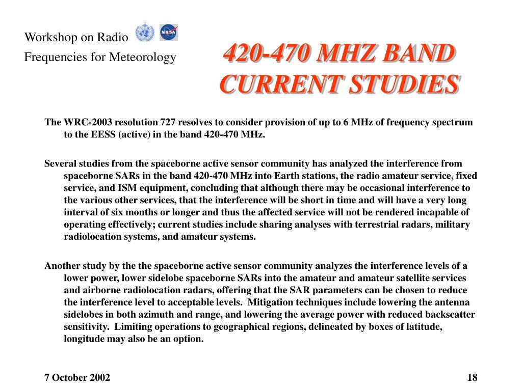 420-470 MHZ BAND CURRENT STUDIES