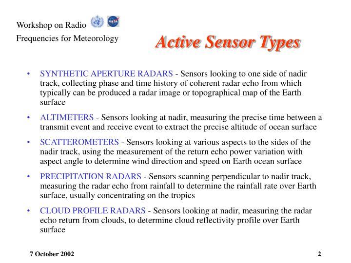Active sensor types
