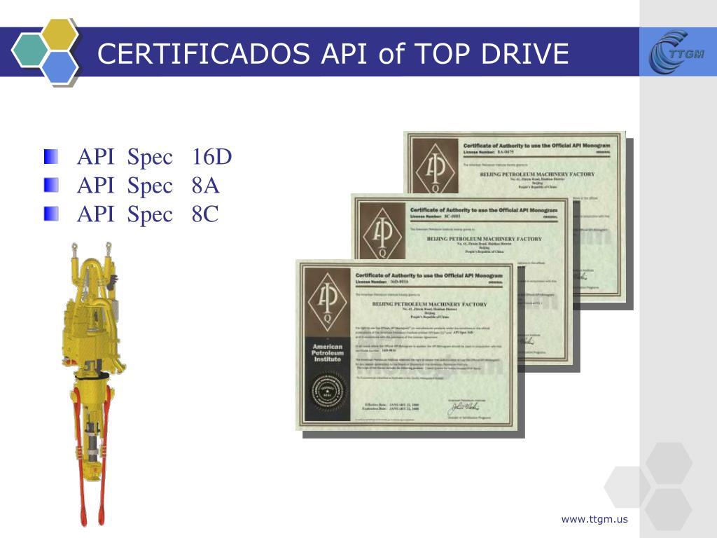 CERTIFICADOS API of TOP DRIVE