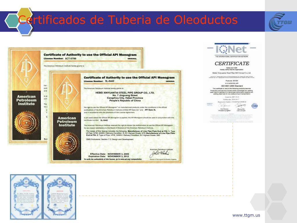 Certificados de Tuberia de Oleoductos