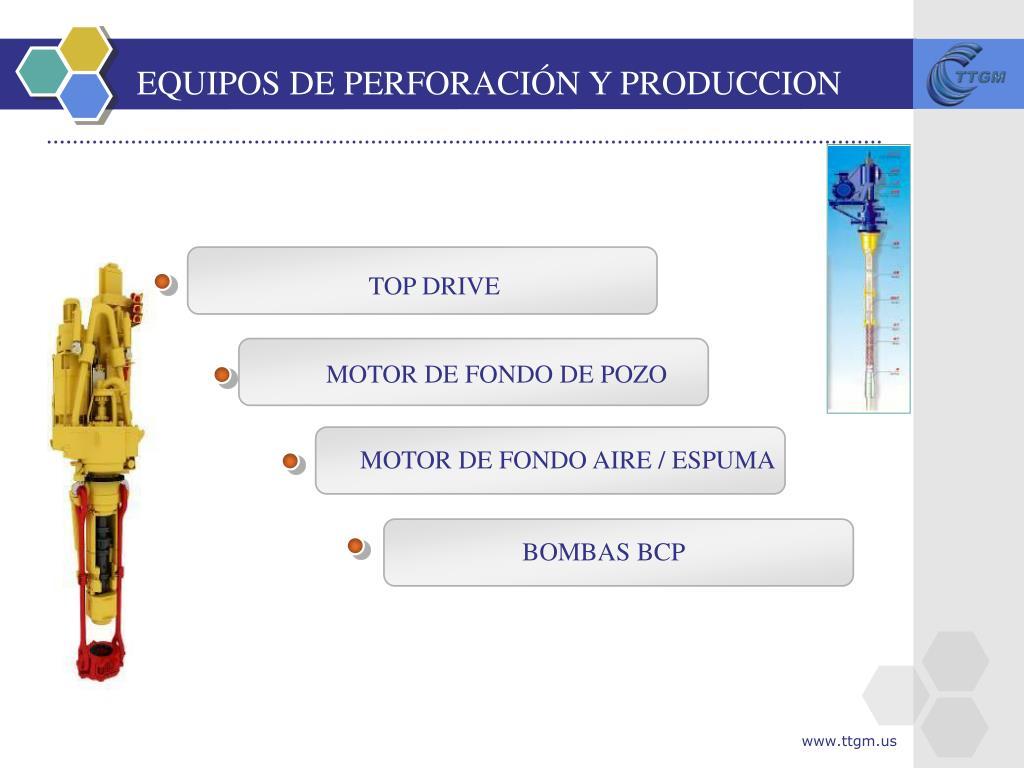 EQUIPOS DE PERFORACIÓN Y PRODUCCION