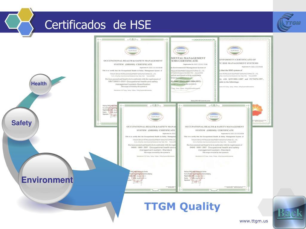 Certificados  de HSE