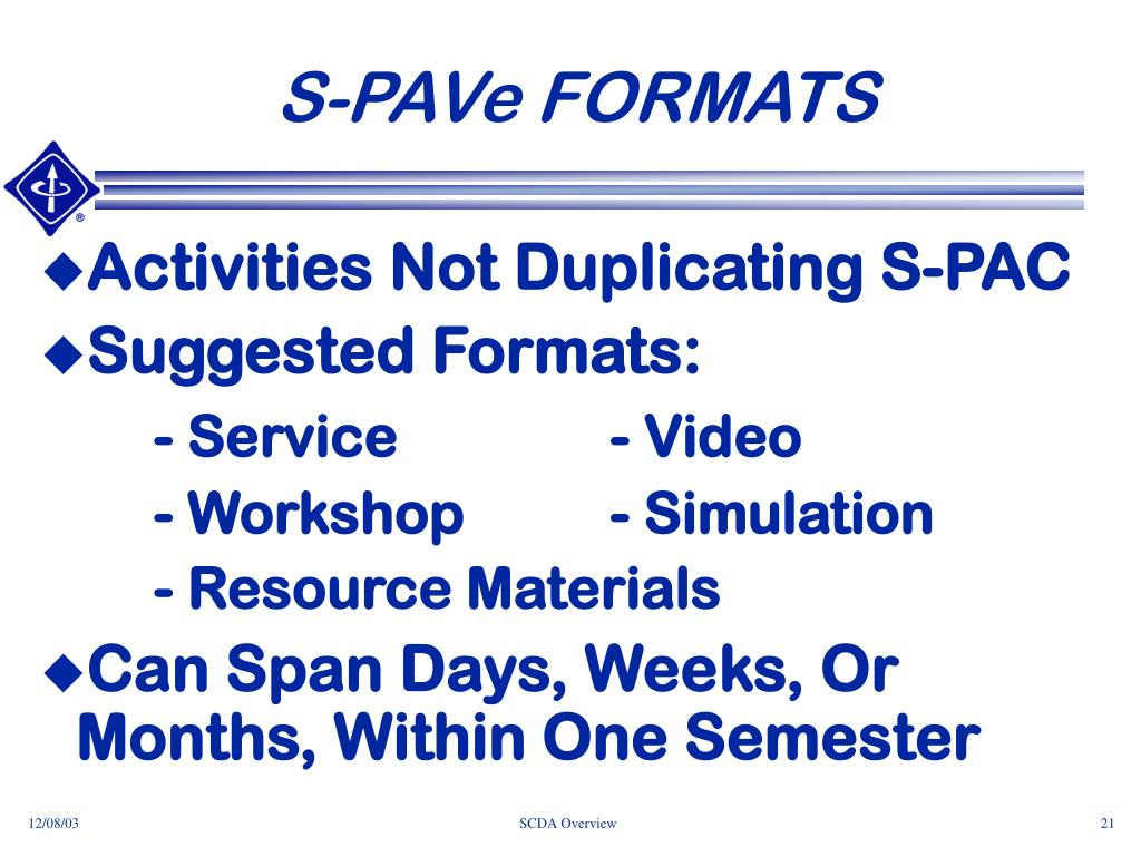 S-PAVe FORMATS