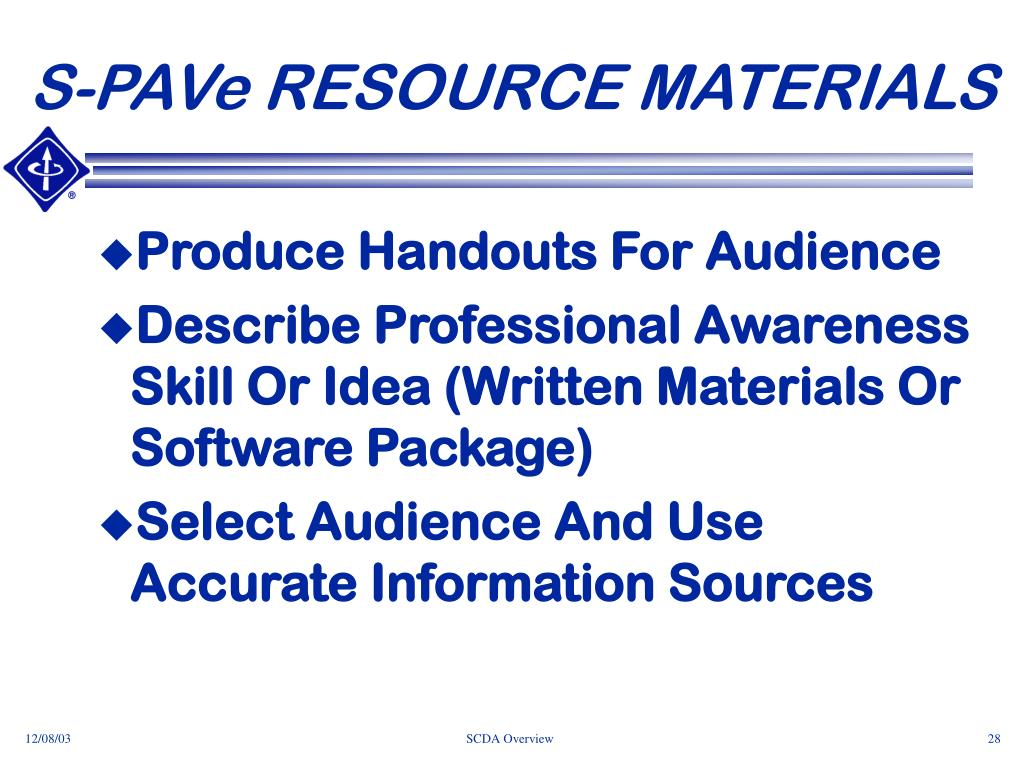 S-PAVe RESOURCE MATERIALS