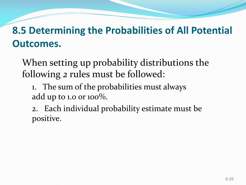 8.5 Determining the Probabilities of All Potential Outcomes.