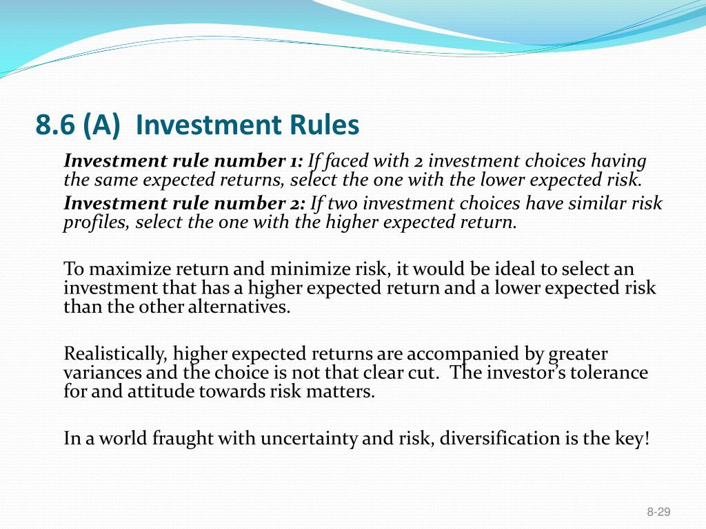 8.6 (A)  Investment Rules