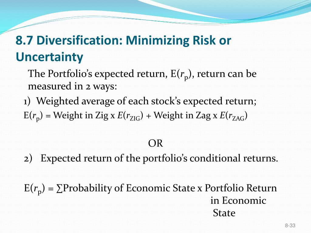 8.7 Diversification: Minimizing Risk or Uncertainty