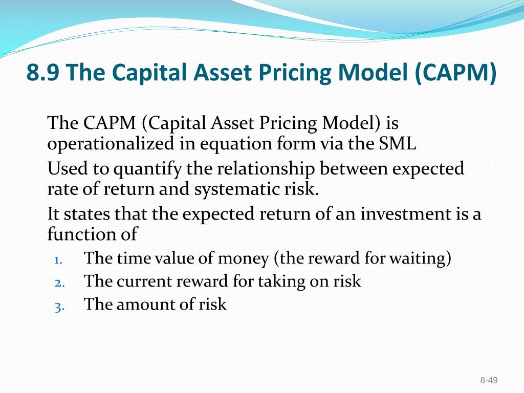 8.9 The Capital Asset Pricing Model (CAPM)