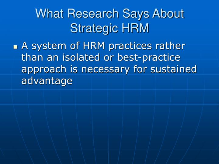 What Research Says About Strategic HRM