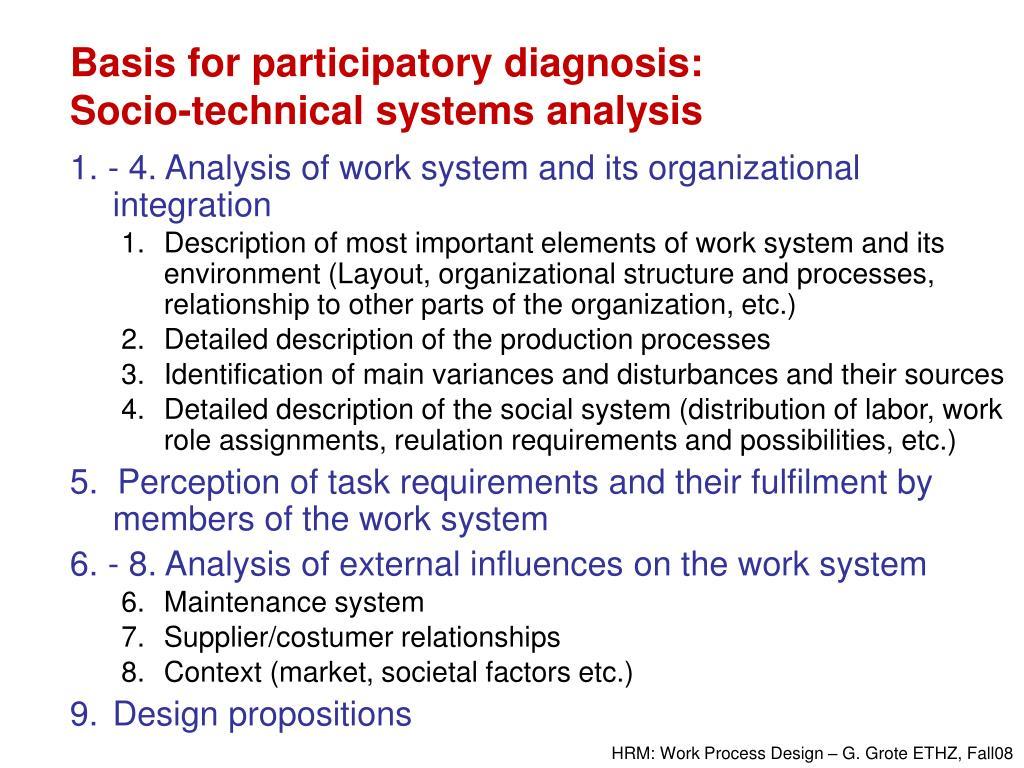 Basis for participatory diagnosis: